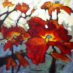 Small abstracted red poppy painting