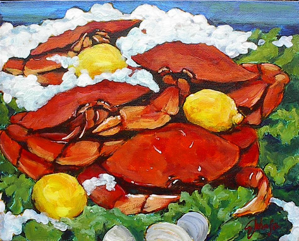 Still-Life painting of Dungeness crabs with lemons