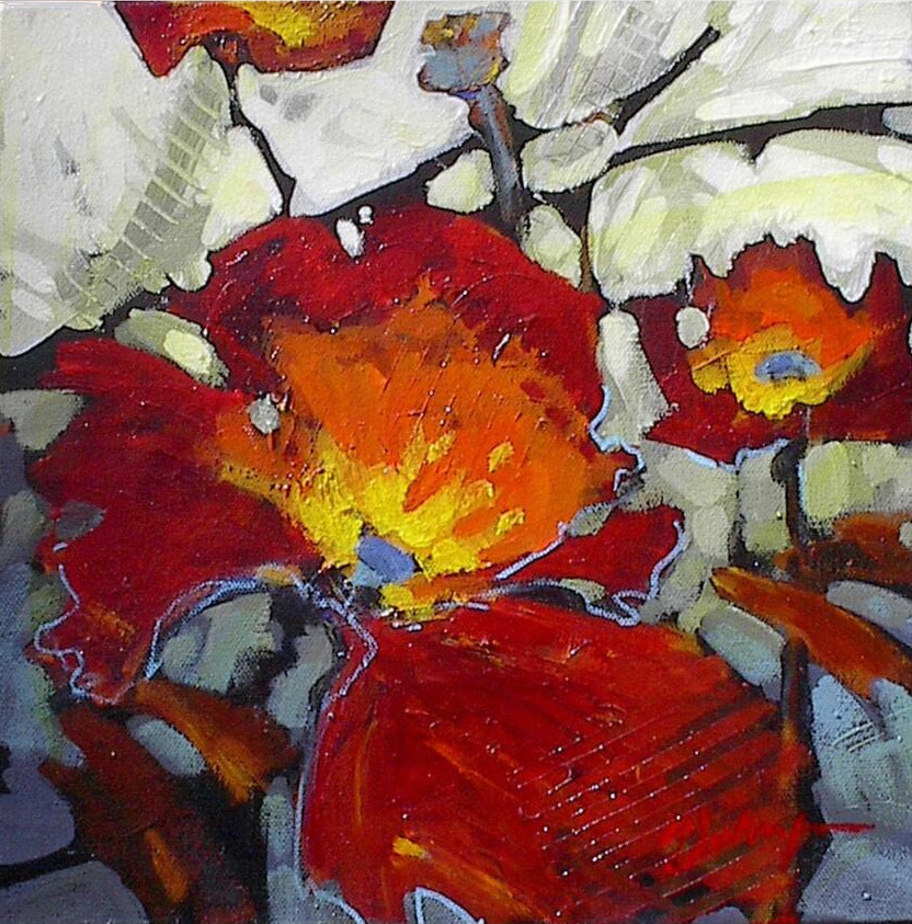 Abstracted red poppy paintin