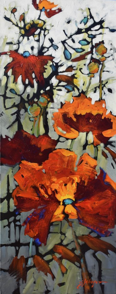 Red poppies painting by Gail Johnson