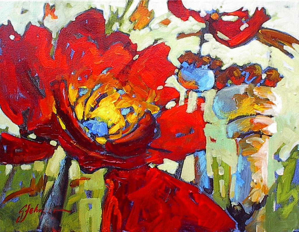 Red poppies painting, texture, bold brush