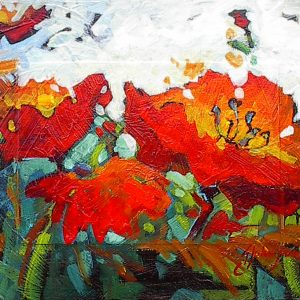 Textured painting of red poppies