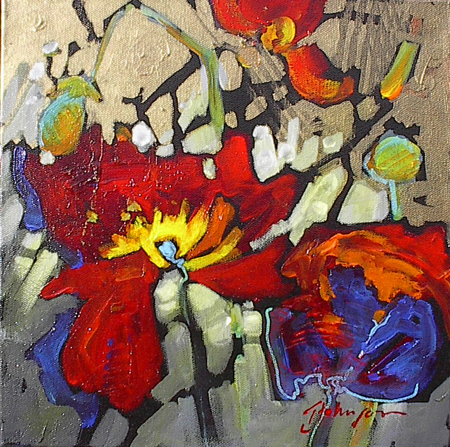 Abstracted textured red poppy, Gail Johnson