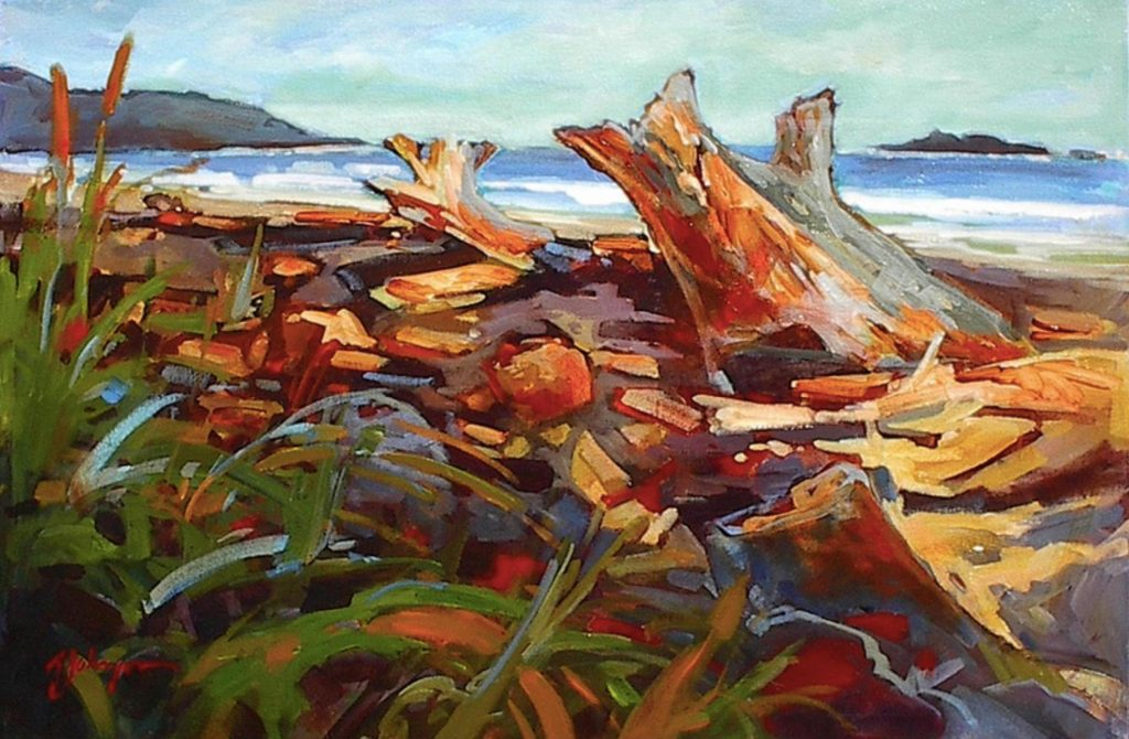 Expressive painting of driftwood on a beach, West Coast expressions