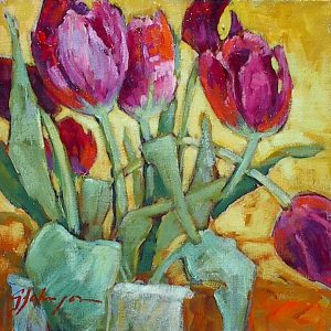 Painting of deep red tulips, still life