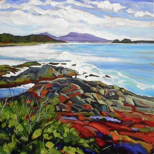 Bold brush, expressive coastal landscape, square format