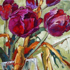 Painting of deep red tulips