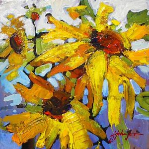 Small abstracted painting of sunflowers by Gail Johnson