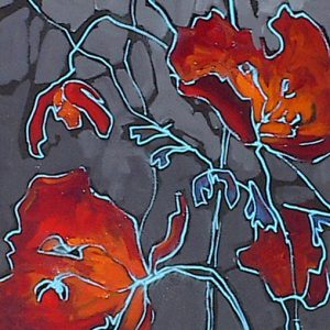 Painting of abstracted red poppies with teal outline on gray background