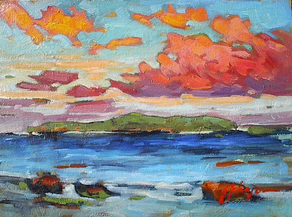 Impressionist coastal landscape study in oil by Gail Johnson