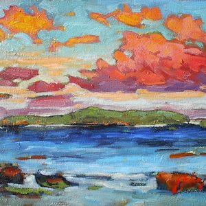 Impressionist coastal landscape study in oil by Gail Johnson