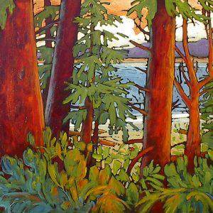 Large Expressionist West Coast landscape by Gail Johnson