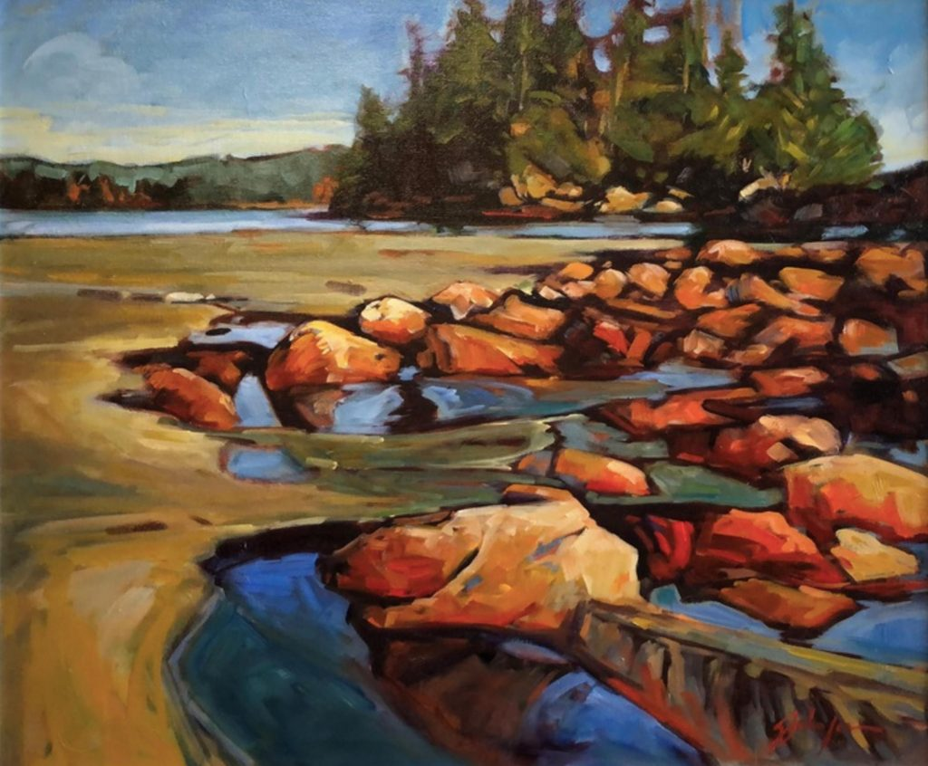 Warm-tone, expressive West Coast oil painting by Gail Johnson