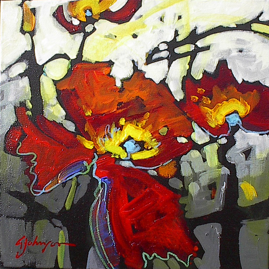 Contemporary bright red poppy painting by Gail Johnson