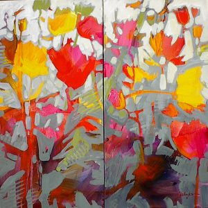Bright red and yellow poppies painting by Gail Johnson