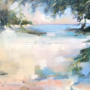 Semi-abstracted seascape in soft palette