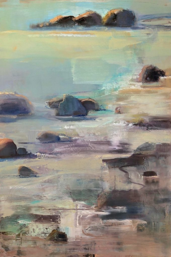 Semi-abstract oil painting, shoreline with sand, rocks and water