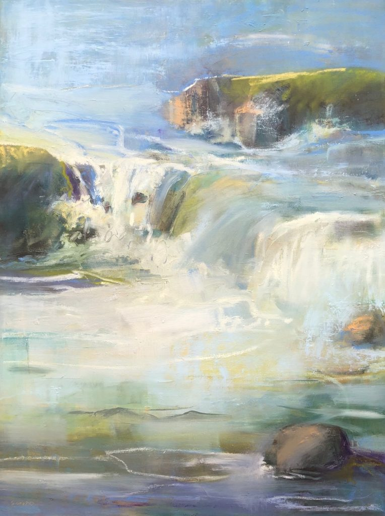Abstracted waterfall in oil