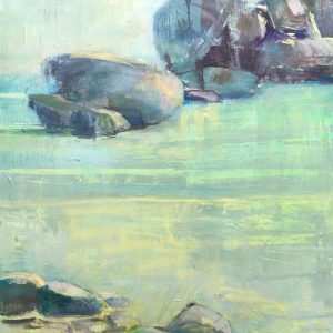 Abstracted oil painting of rocks on the shoreline, teal, brown, yellow