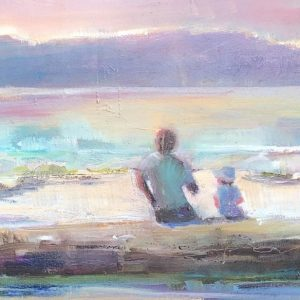 Seascape in warm soft light with two figures on beach