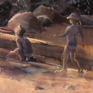 Long upright painting of two children on beach, warm monochrome