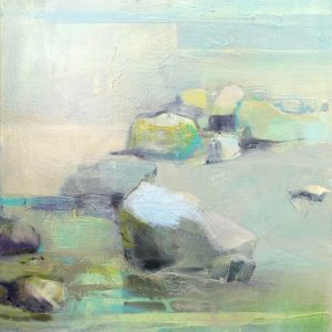 Abstracted coastal landscape in oil. Rocks, sand, water, pastel yellows and teals
