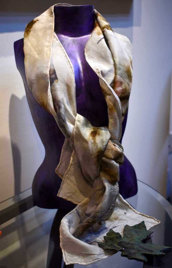 Gold Toned Silk Scarf; one-of-a-kind wearable art created with natural dyes from plants and roots