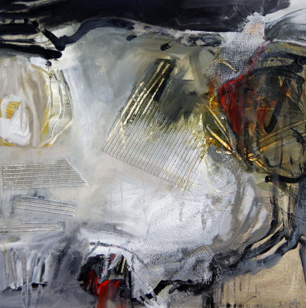 Black, white, gold and red abstract painting