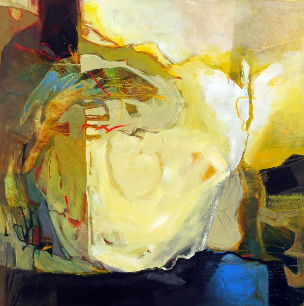 Yellow, white, brown, blue and red abstract painting