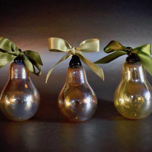 Handblown Golden Pear Glass Ornaments
