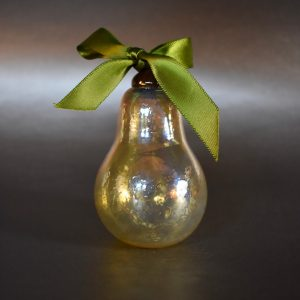 Gold Coloured handblown Glass ornament with green ribbon