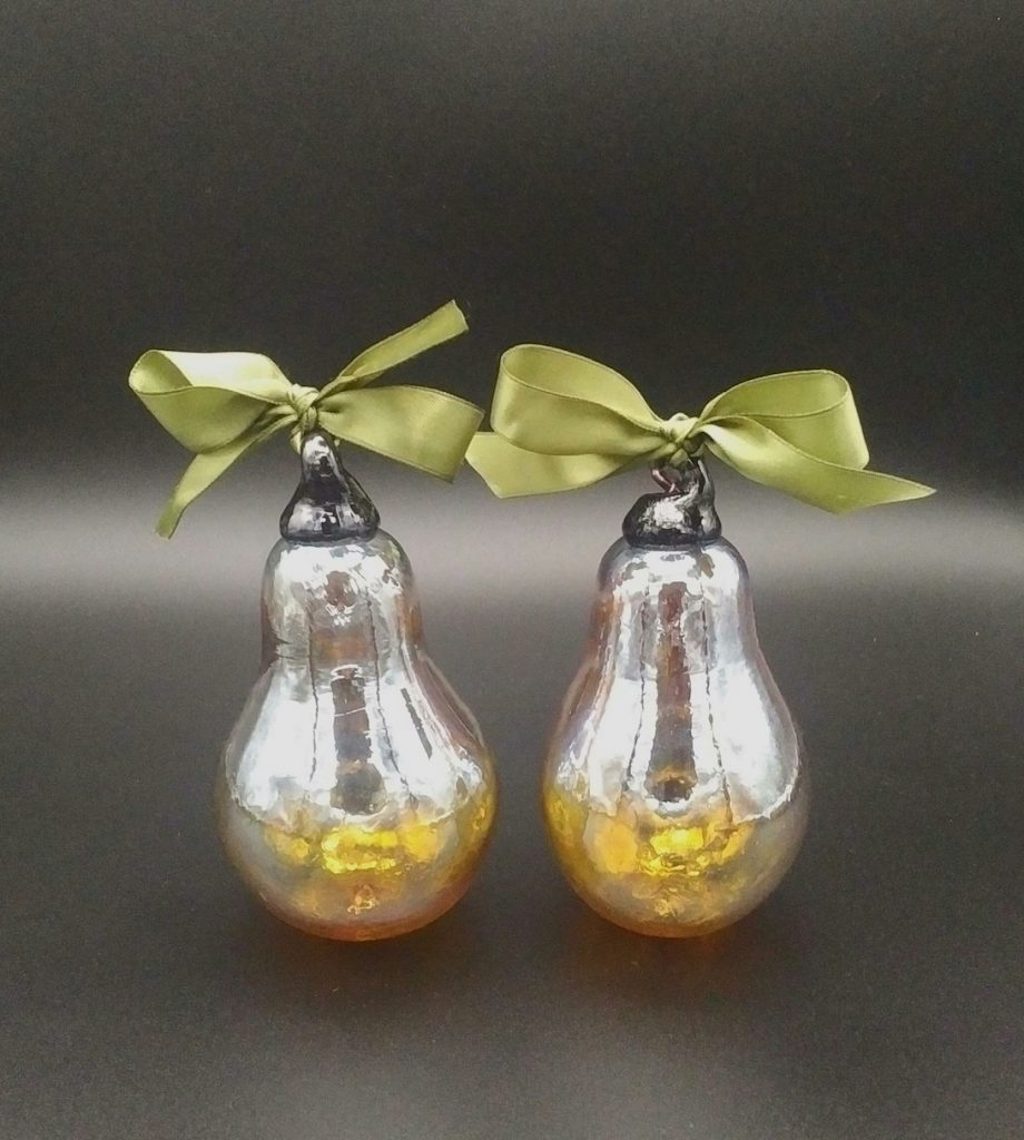 Golden Pears Glass Ornaments, Handblown in Vancouver by Joanne Andrighetti