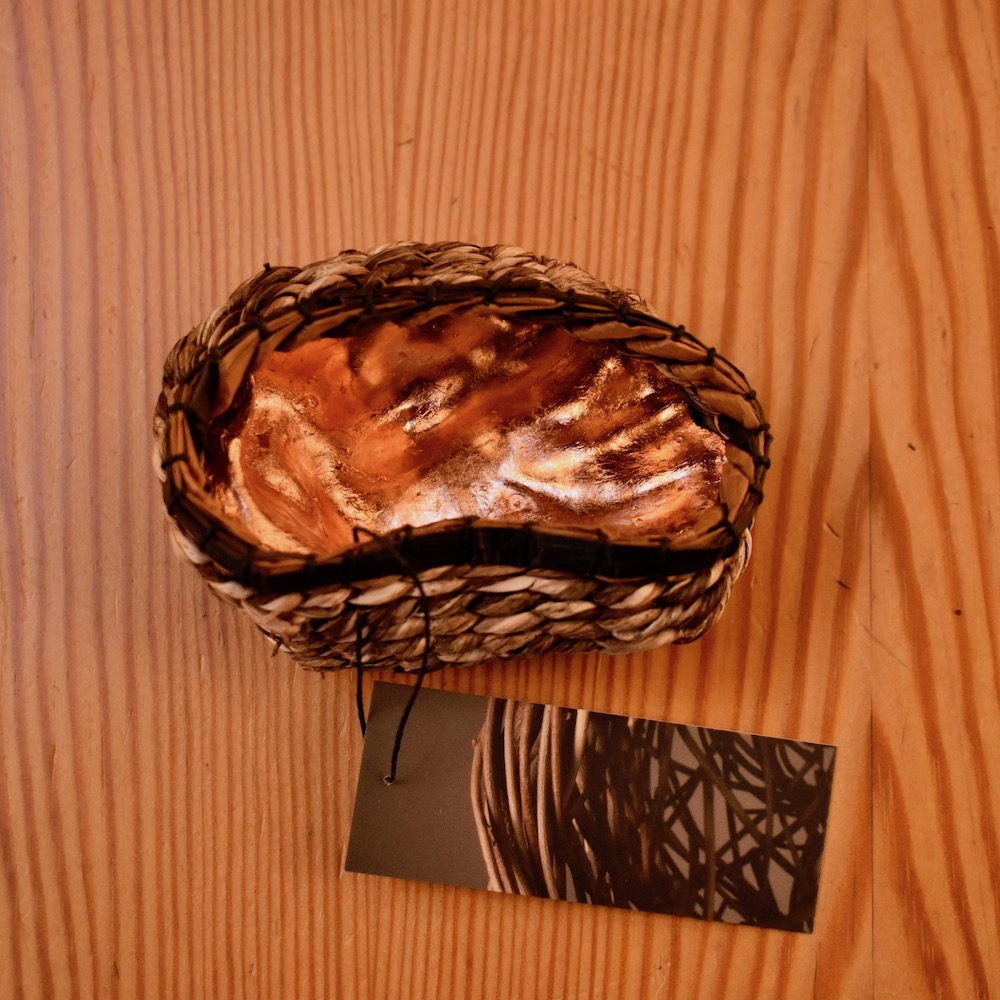 Contemporary Basketry Sculpture, Copper Gilt Shell