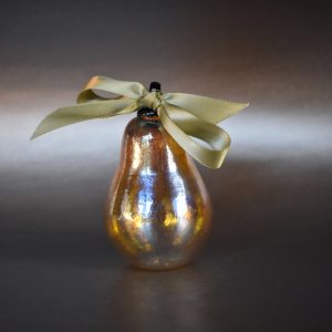 Golden Pear Glass Ornament with a ribbon