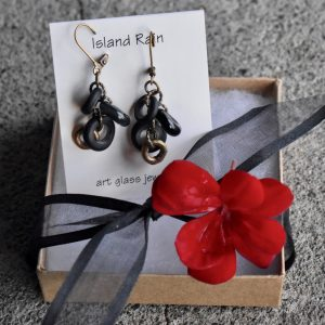 Raven Collection Glass Earrings by Island Rain Studio