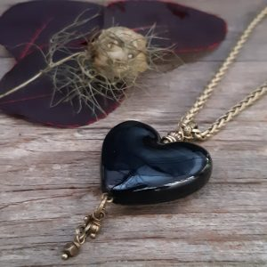 Handmade Glass Heart Pendant and brass chain