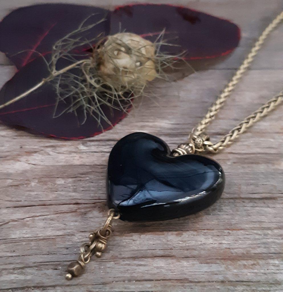 Handmade Glass Heart Pendant and brass chain