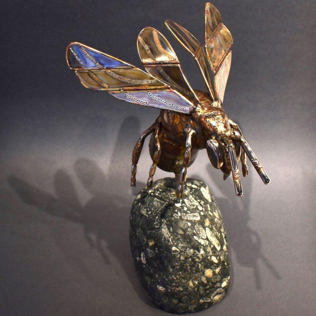 Bumblebee sculpture by Ian Lowe, stainless steel