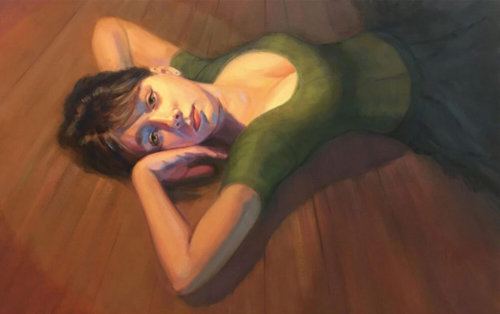Painting of a young woman with dreamy green eyes