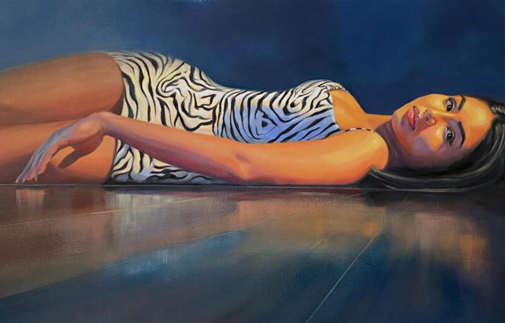 Painting of a dark eyed woman in white and black dress resting on the floor
