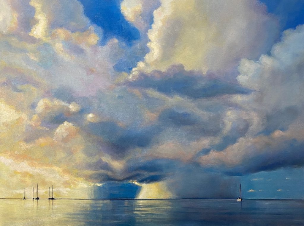 Painting of luminous clouds over the water in yellow and blue