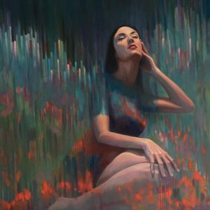 Semi abstracted painting of a beautiful woman seated in the imaginary field of red flowers
