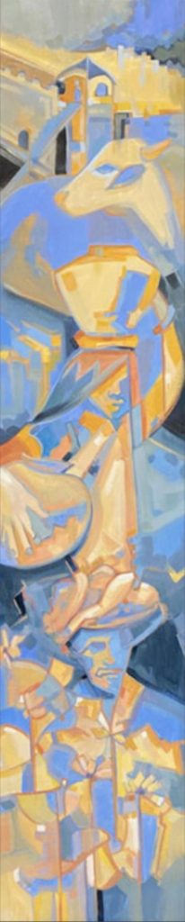 Abstracted vertical painting in yellow, orange and blue, inspired by Northern India