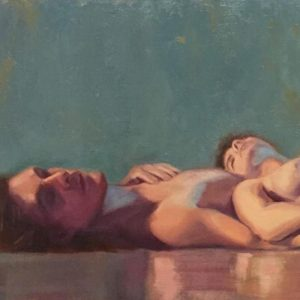 Painting of a nude couple relaxing, their bodies reflecting on the glossy floor surface