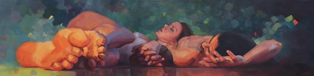 Intimacy, connectedness, original oil painting of a couple