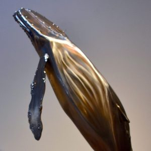 Humpback whale sculpture, stainless steel and natural stone