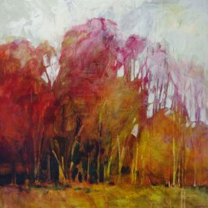 Abstracted contemporary painting of autumn trees