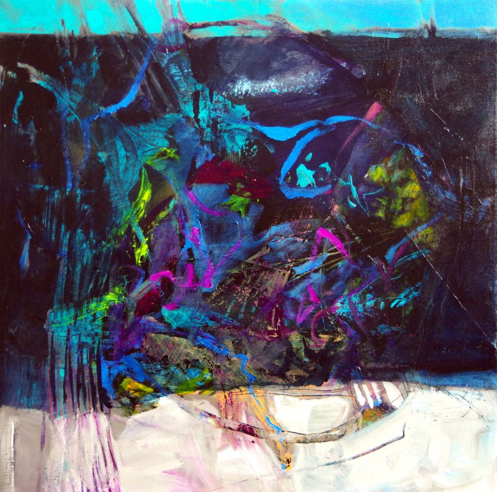 Abstracted painting in teals , black, white and purple