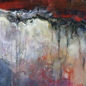 Dramatic abstracted painting with red, black and white
