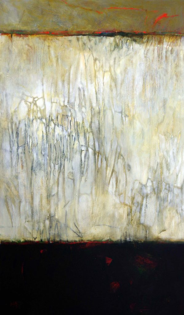 Large abstract painting with layers of darks and lights and striking mark, making